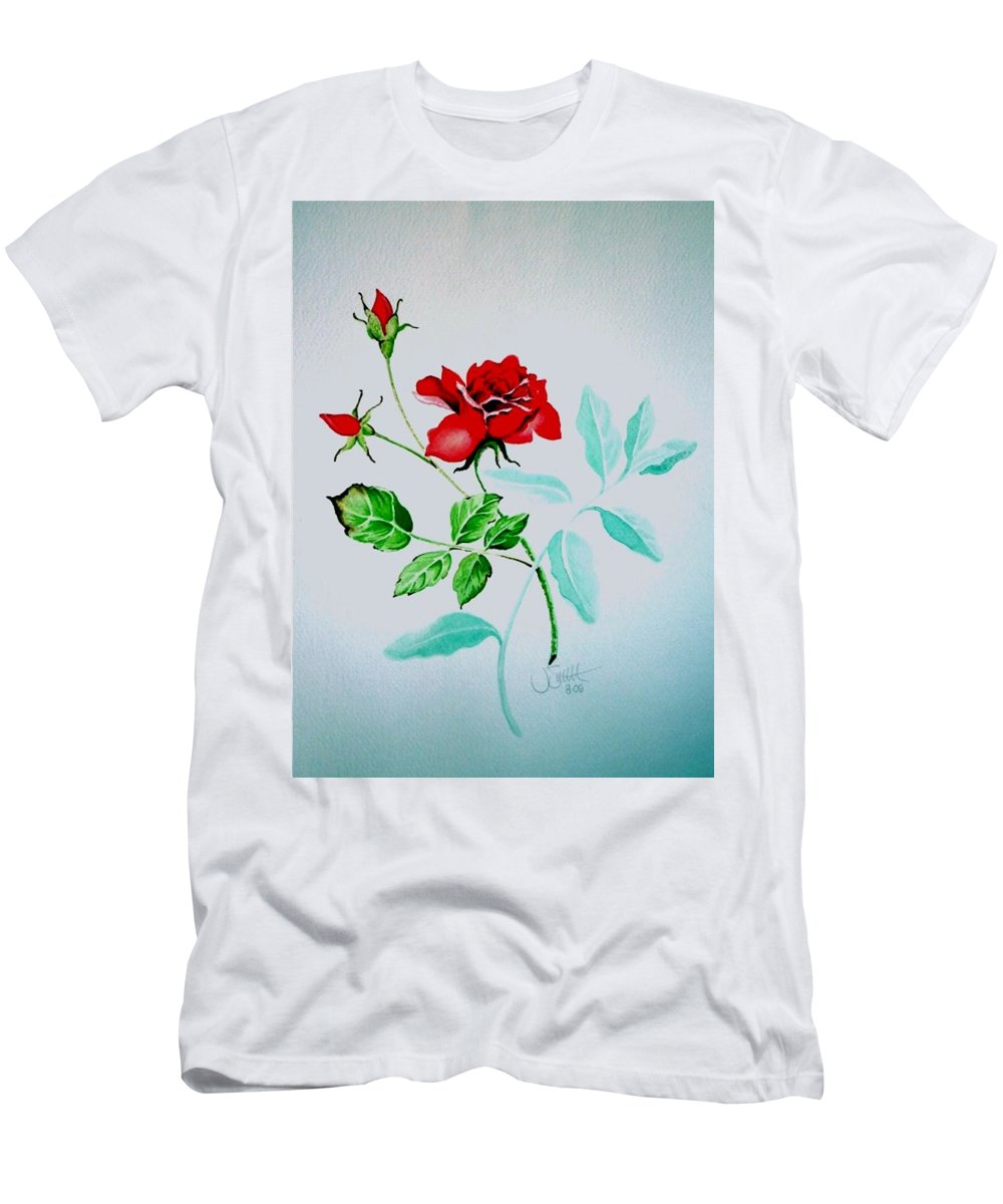 Roses Men's T-Shirt (Athletic Fit) featuring the painting Red Roses by Jimmy Smith