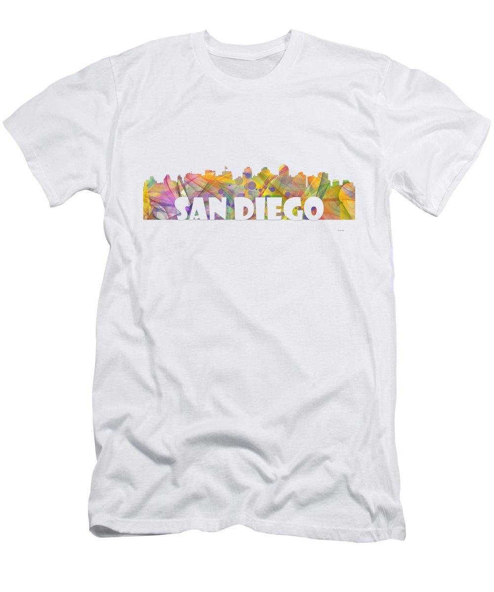 San Diego Men's T-Shirt (Athletic Fit) featuring the digital art San Diego California Skyline by Marlene Watson