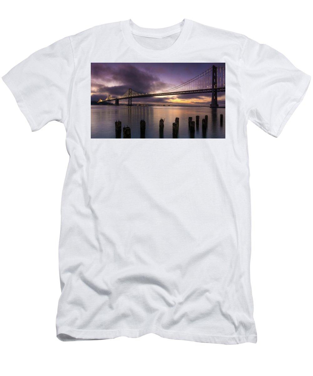 Landscape Men's T-Shirt (Athletic Fit) featuring the photograph San Francisco Bay Bridge by Javier Flores