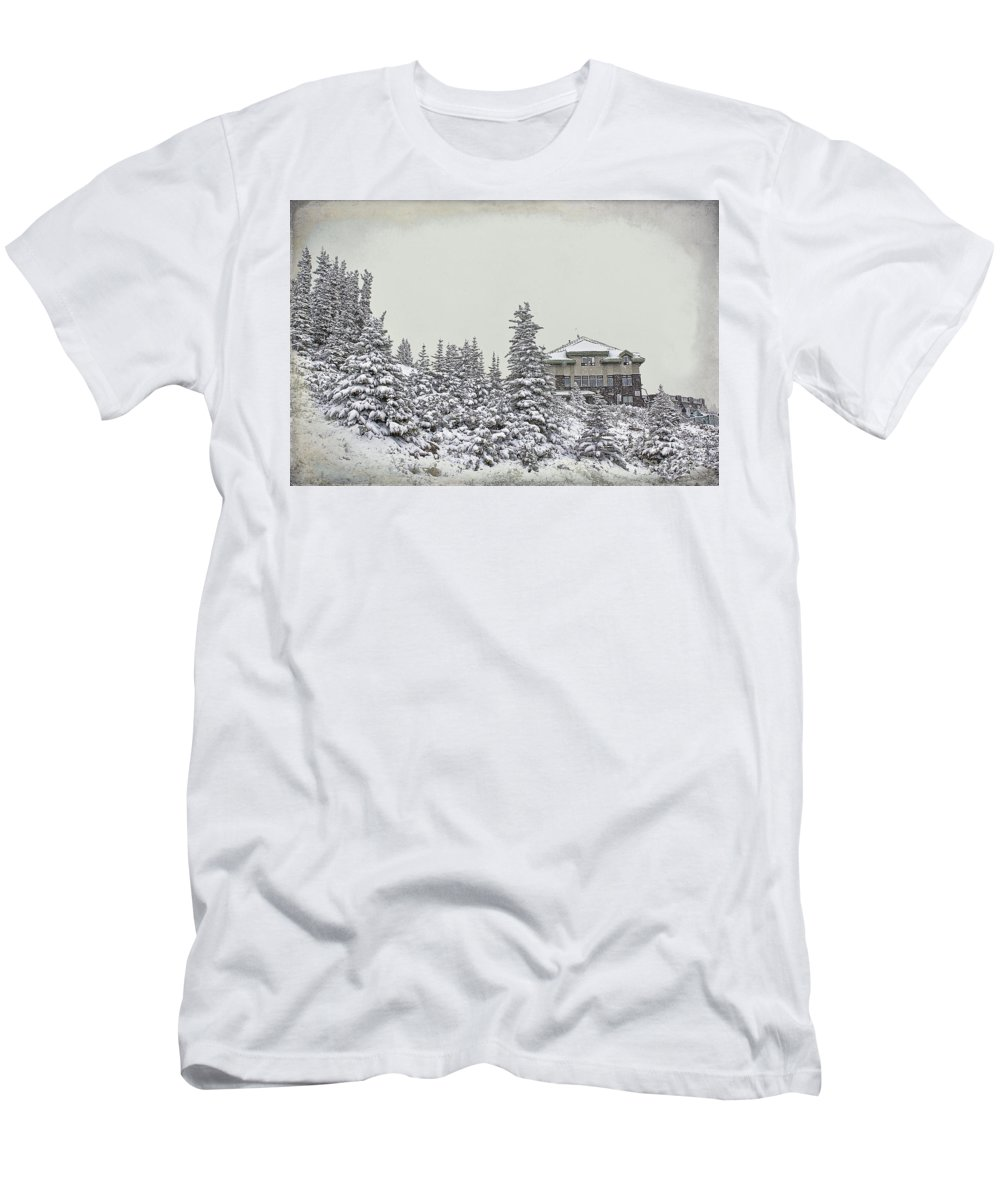 Snow Men's T-Shirt (Athletic Fit) featuring the photograph Snow In July by Teresa Zieba