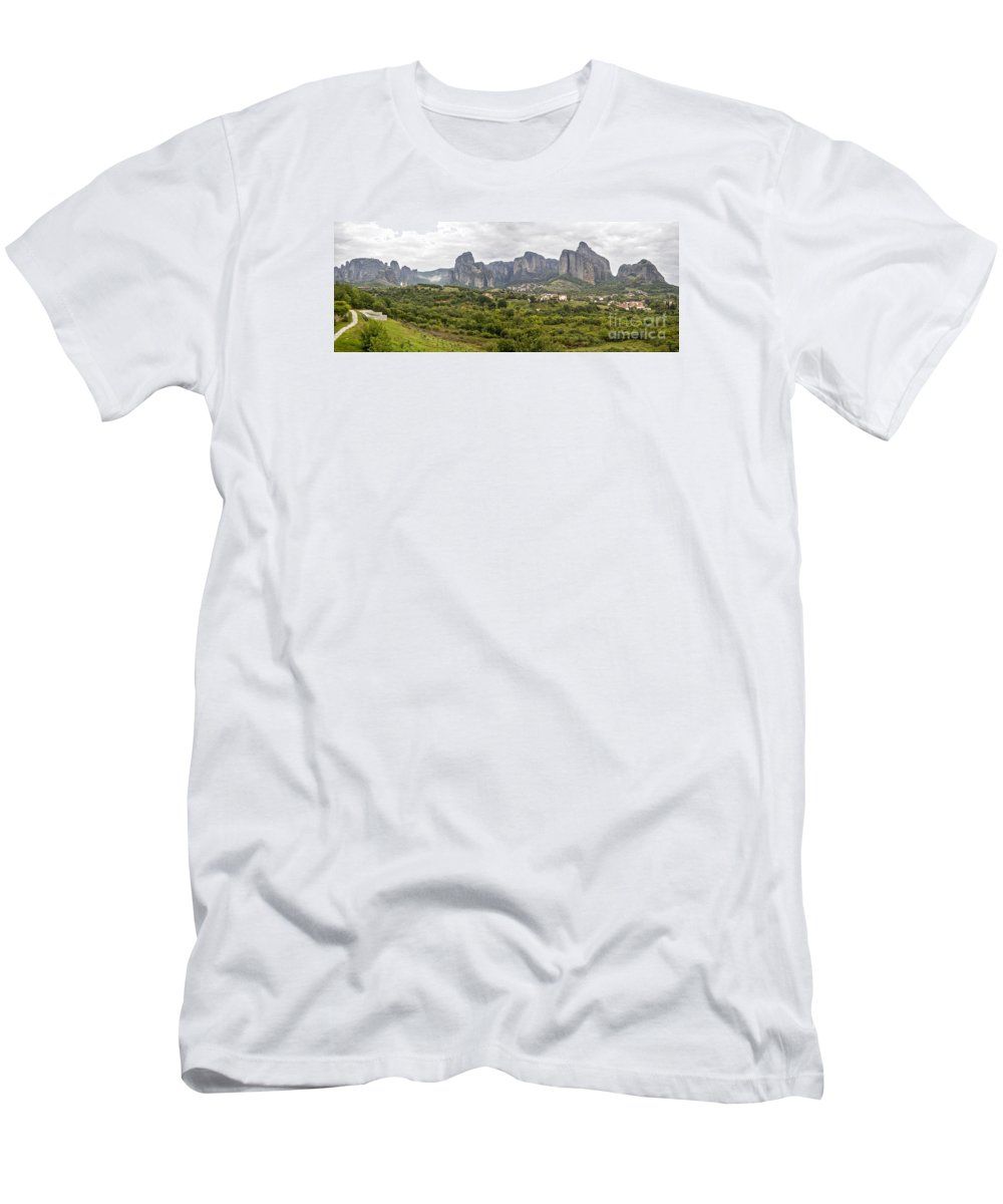 Panorama Men's T-Shirt (Athletic Fit) featuring the photograph Spectacular Meteora Rock Formations by Moshe Torgovitsky