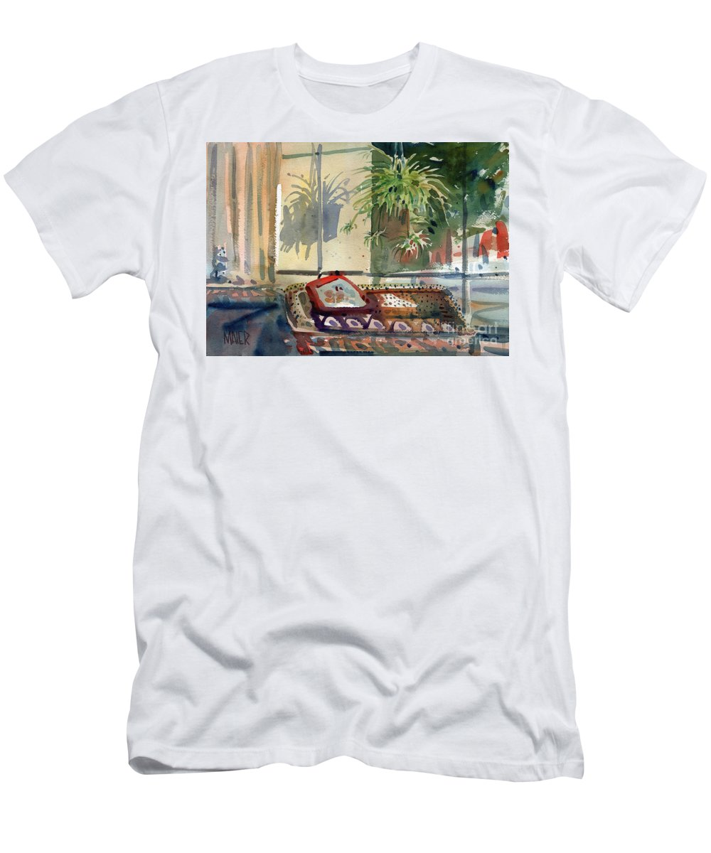 Spider Plant Men's T-Shirt (Athletic Fit) featuring the painting Spider Plant In The Window by Donald Maier