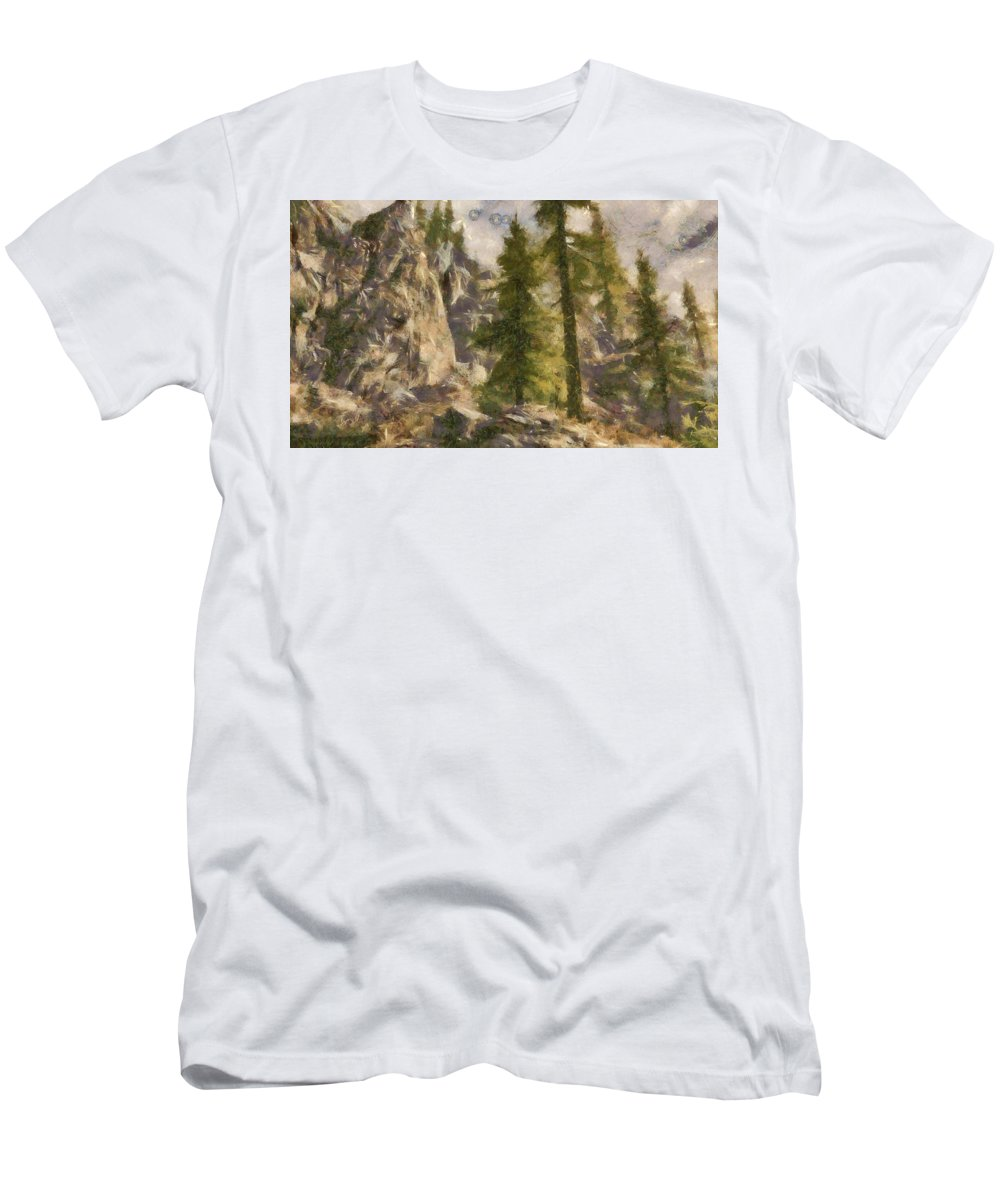 Mountain Men's T-Shirt (Athletic Fit) featuring the digital art Spruce by Marjan Mencin