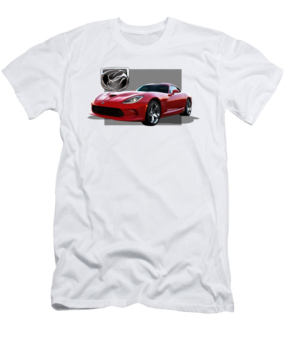 'dodge Viper' By Serge Averbukh Men's T-Shirt (Athletic Fit) featuring the photograph S R T Viper With 3 D Badge by Serge Averbukh