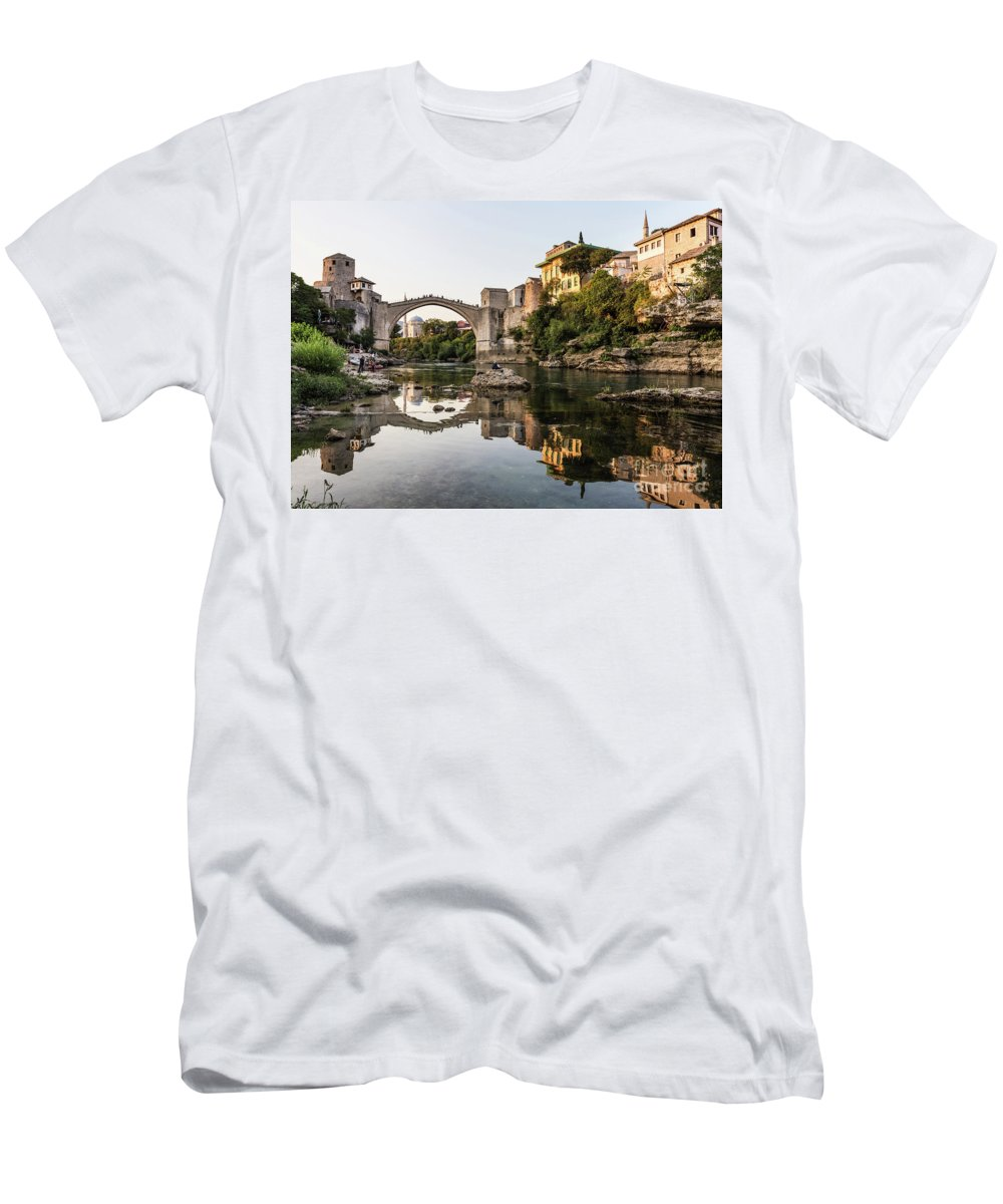 Ancient Men's T-Shirt (Athletic Fit) featuring the photograph Sunset Over The Famous Mostar Bridge by Didier Marti