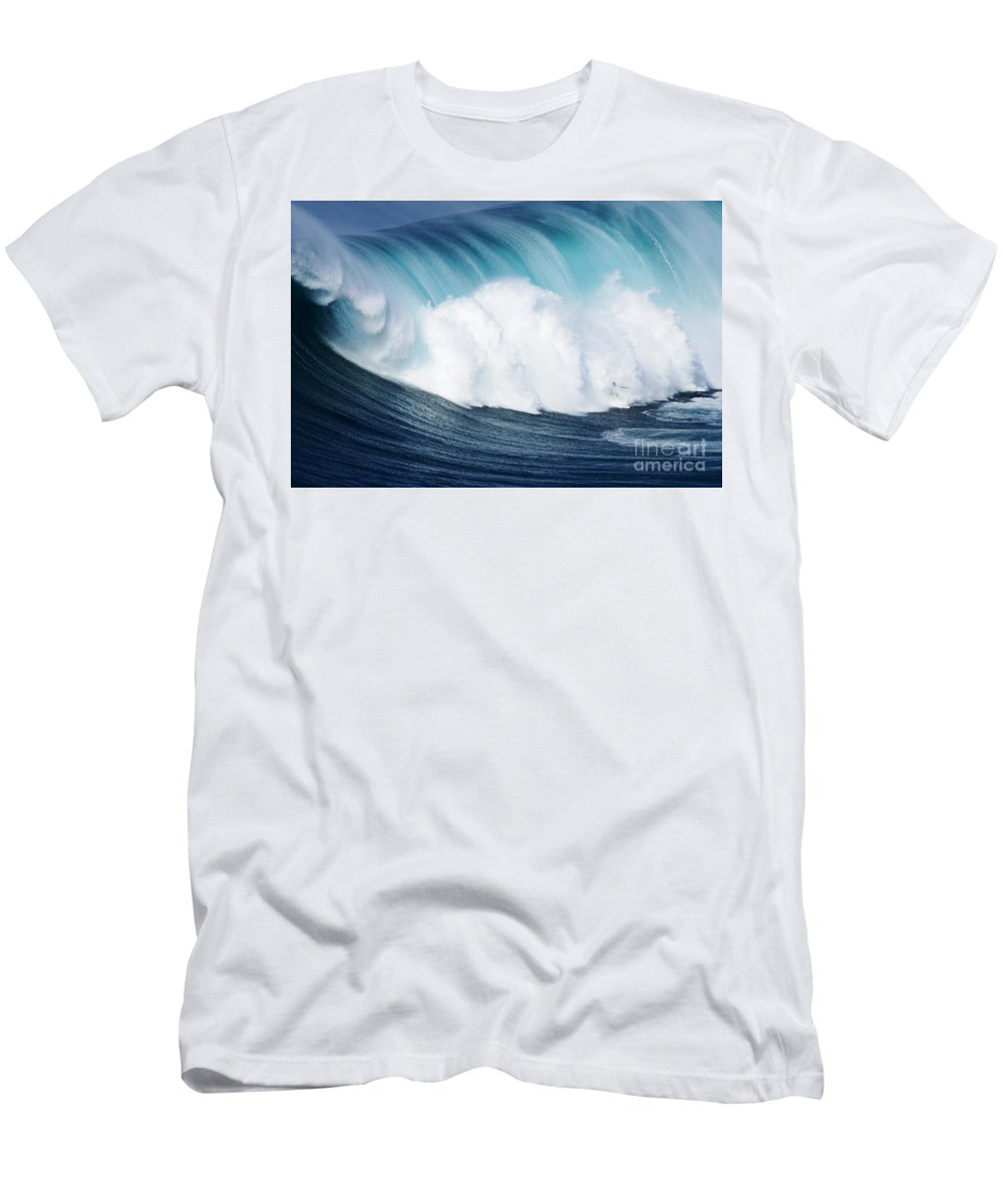 Adrenaline Men's T-Shirt (Athletic Fit) featuring the photograph Surfing The Infamous Jaws by Ron Dahlquist - Printscapes