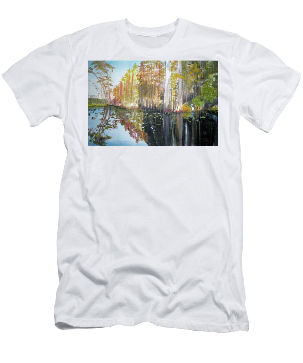Landscape Of A South Florida Swamp At Dusk Feels Very Wild Men's T-Shirt (Athletic Fit) featuring the painting Swamp Reflection by Hal Newhouser