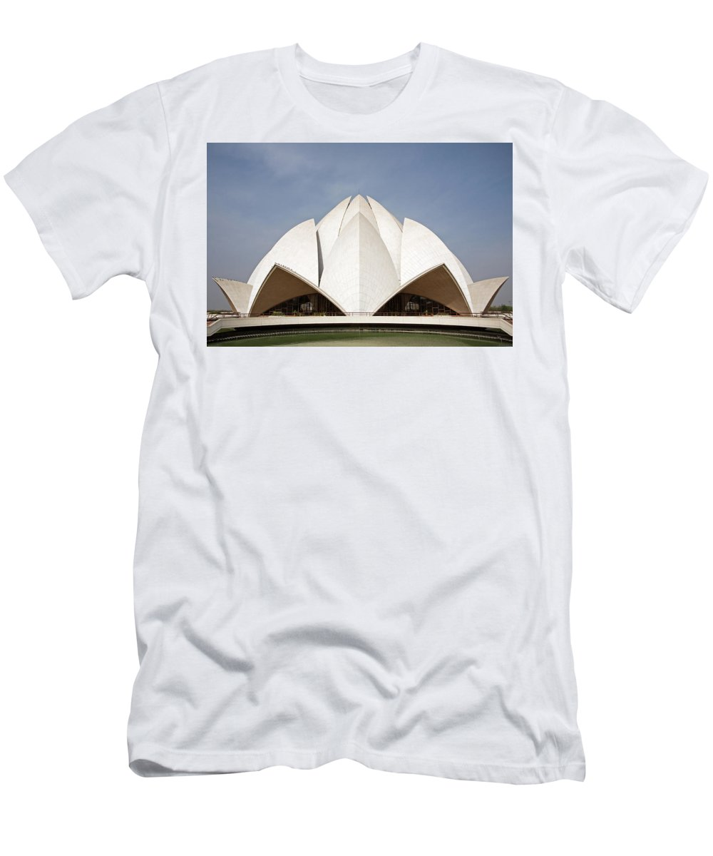 Lotus Temple Men's T-Shirt (Athletic Fit) featuring the photograph The Lotus Temple In New Delhi by Aivar Mikko