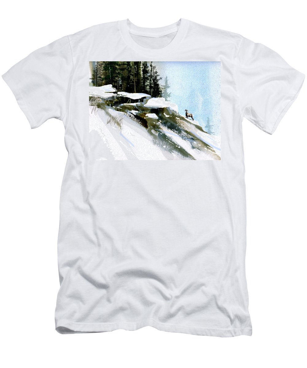 Winter Men's T-Shirt (Athletic Fit) featuring the painting The Steep Climb by Paul Sachtleben
