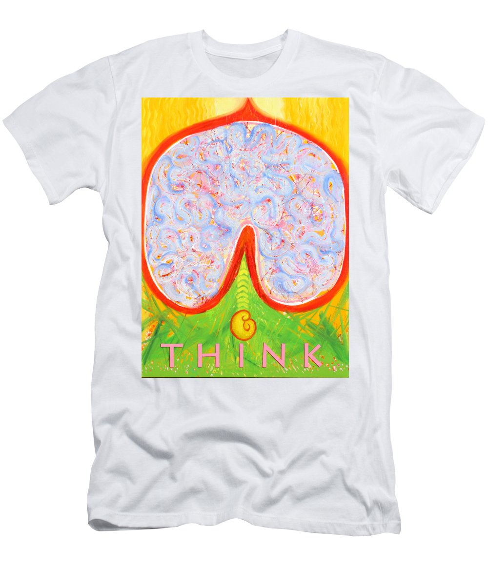 Brain Men's T-Shirt (Athletic Fit) featuring the painting Think by Anne Cameron Cutri