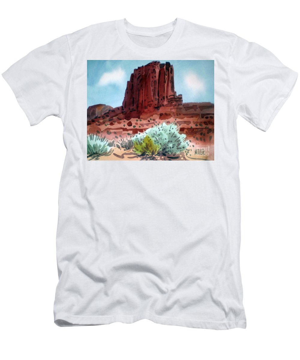 Elephants Butte Men's T-Shirt (Athletic Fit) featuring the painting Two Elephants Butte by Donald Maier