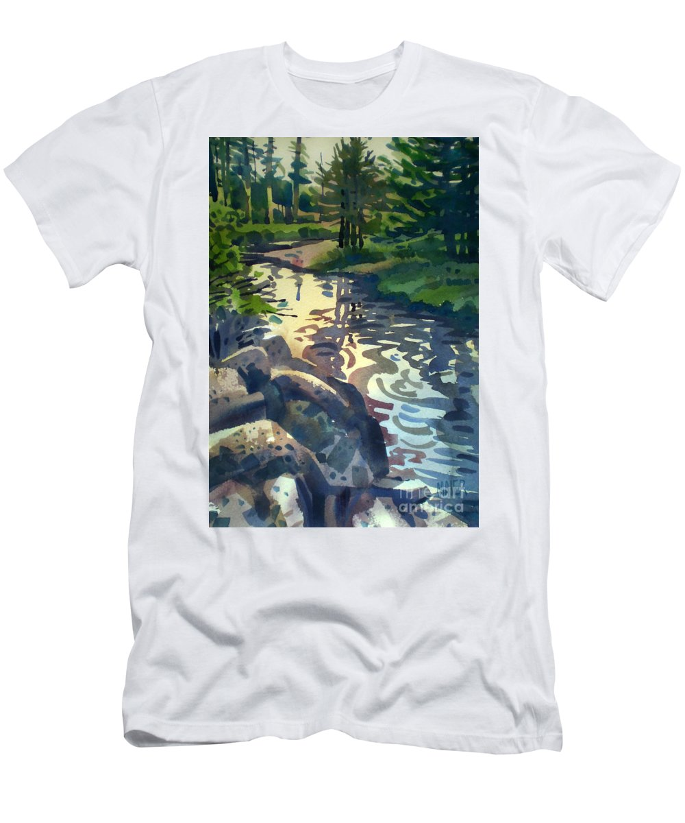 Stream Men's T-Shirt (Athletic Fit) featuring the painting Up With The Fishes by Donald Maier