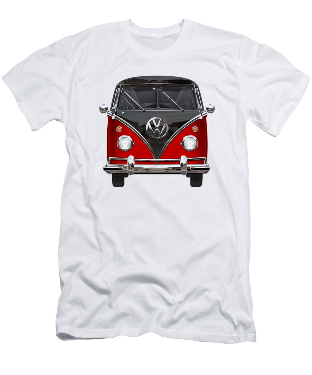 'volkswagen Type 2' Collection By Serge Averbukh Men's T-Shirt (Slim Fit) featuring the photograph Volkswagen Type 2 - Red And Black Volkswagen T 1 Samba Bus On White by Serge Averbukh