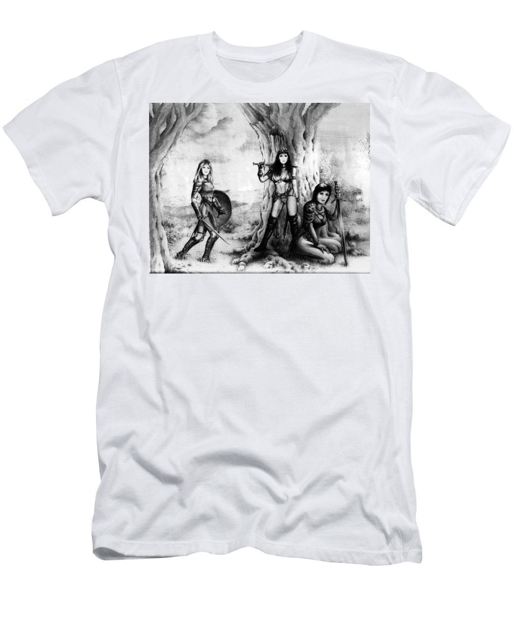 Warriors Men's T-Shirt (Athletic Fit) featuring the drawing Warriors by Rachel Christine Nowicki