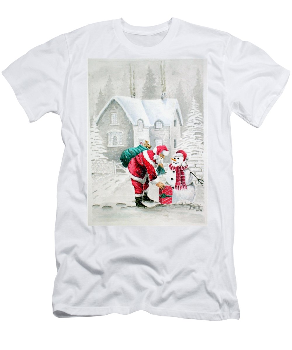 Christmas Men's T-Shirt (Athletic Fit) featuring the painting White Christmas by Jimmy Smith