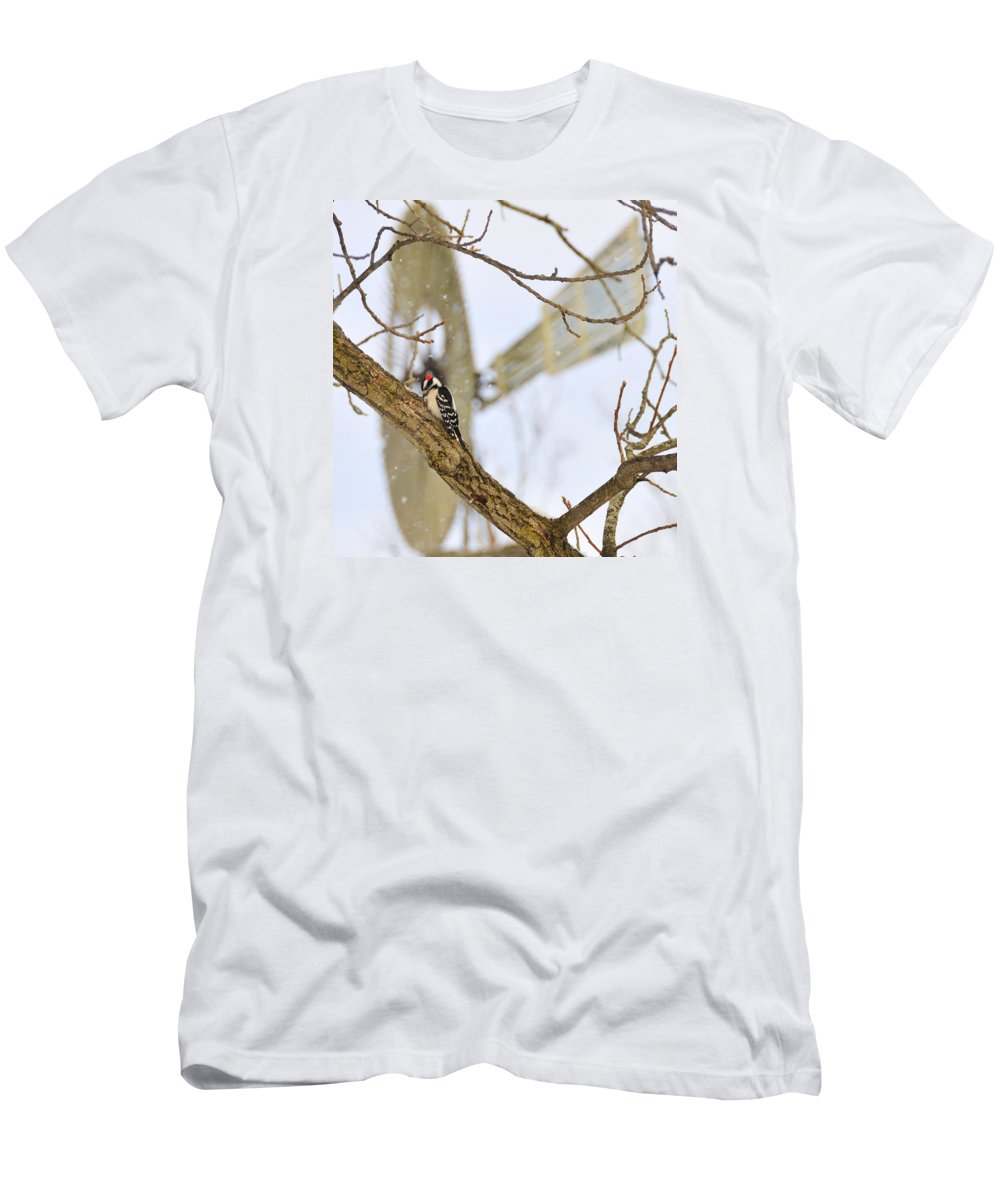 Windmill Men's T-Shirt (Athletic Fit) featuring the photograph Woodpecker And Windmill by David Arment