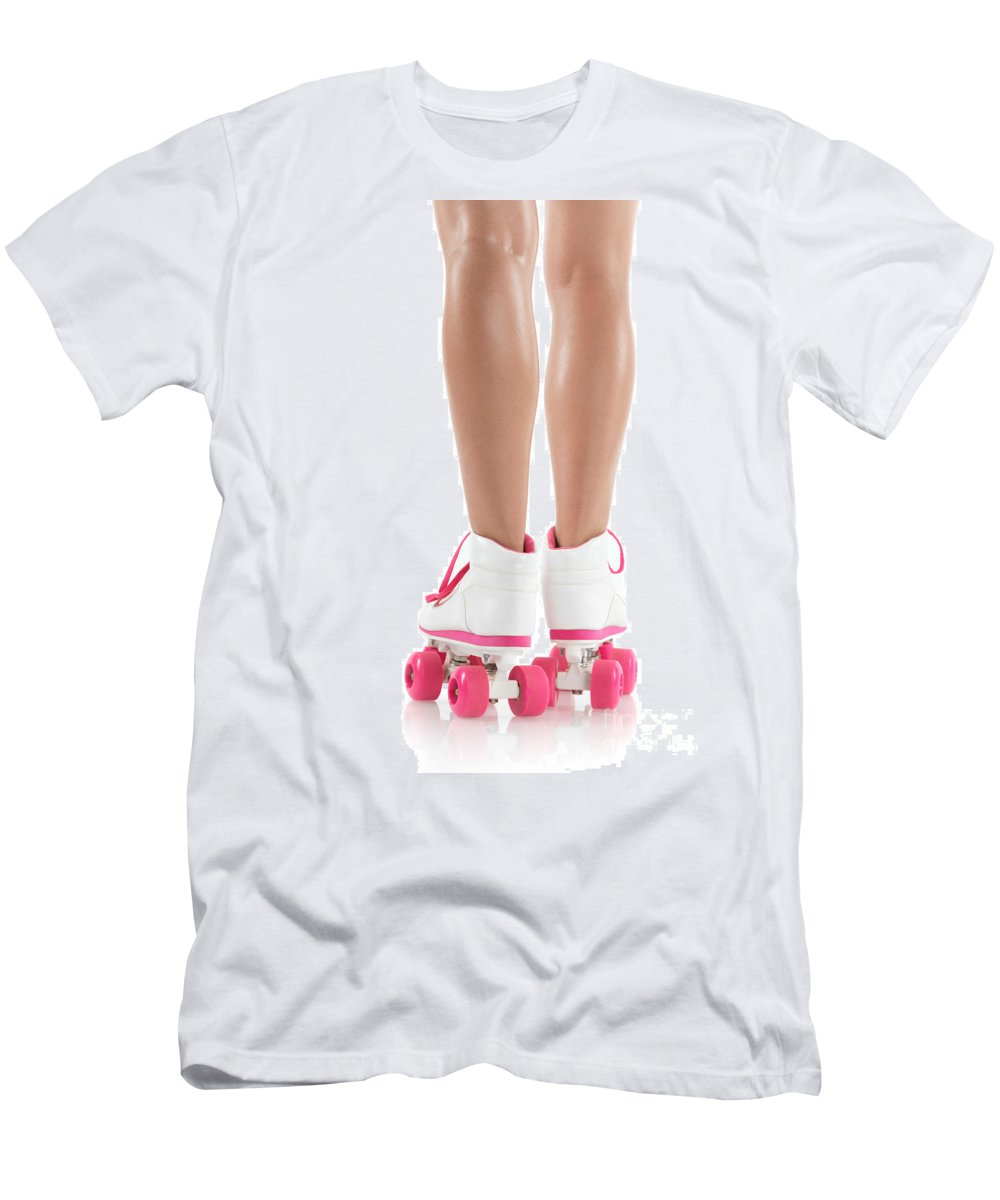Roller Skates Men's T-Shirt (Athletic Fit) featuring the photograph Young Woman Wearing Roller Derby Skates by Oleksiy Maksymenko