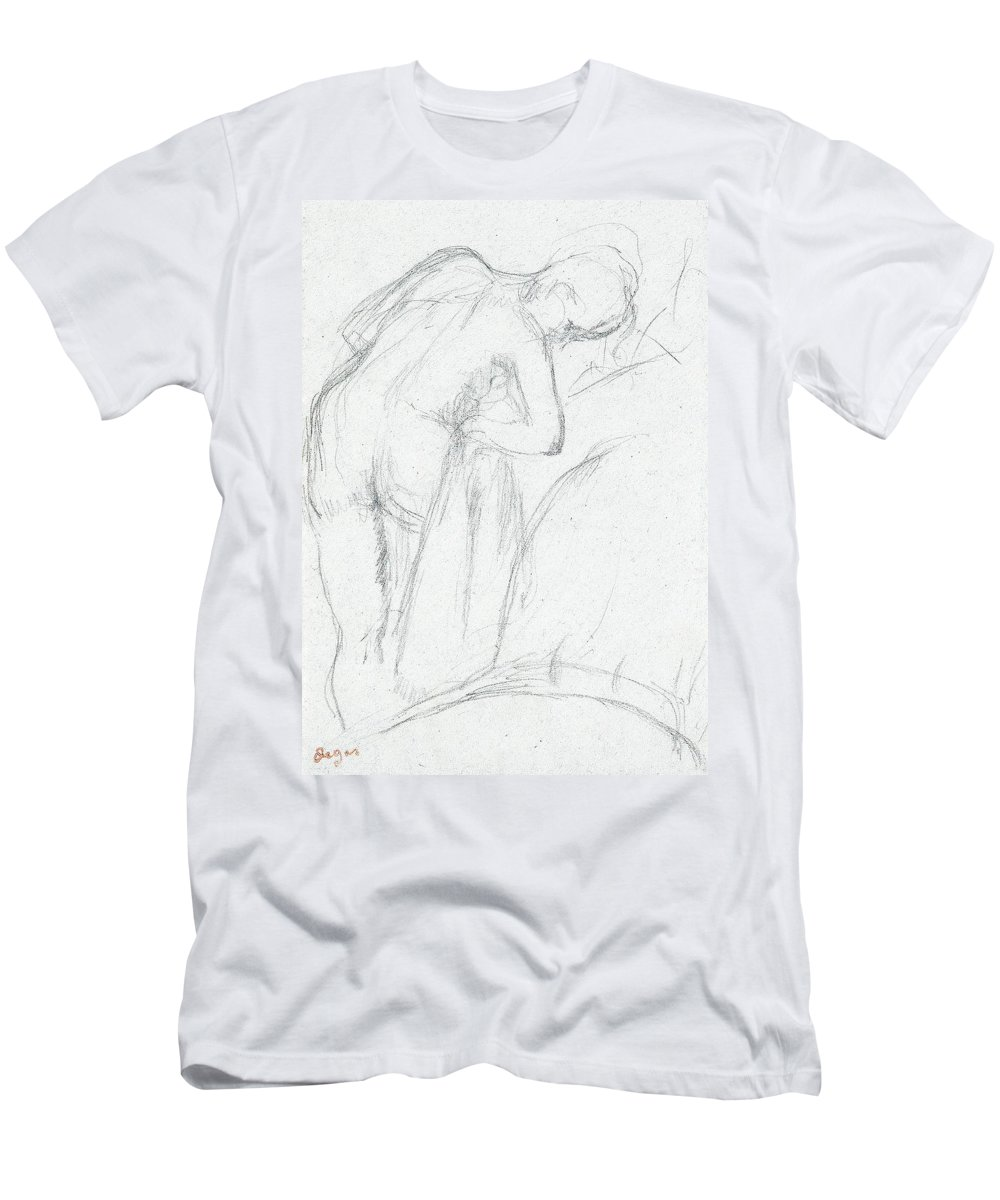 Degas Men's T-Shirt (Athletic Fit) featuring the drawing After The Bath by Edgar Degas