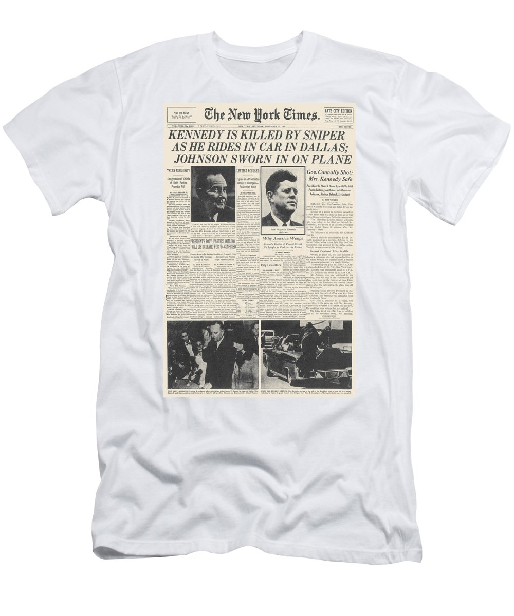 1963 Men's T-Shirt (Athletic Fit) featuring the photograph John F Kennedy (1917-1963) by Granger