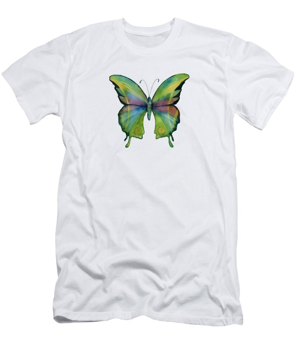 Prism Men's T-Shirt (Athletic Fit) featuring the painting 11 Prism Butterfly by Amy Kirkpatrick