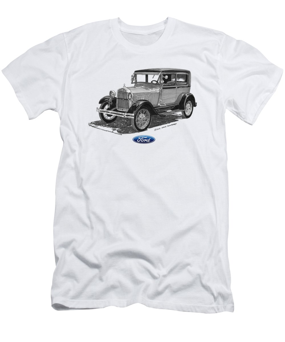 Ford T-Shirt featuring the painting Model A Ford 2 Door Sedan by Jack Pumphrey