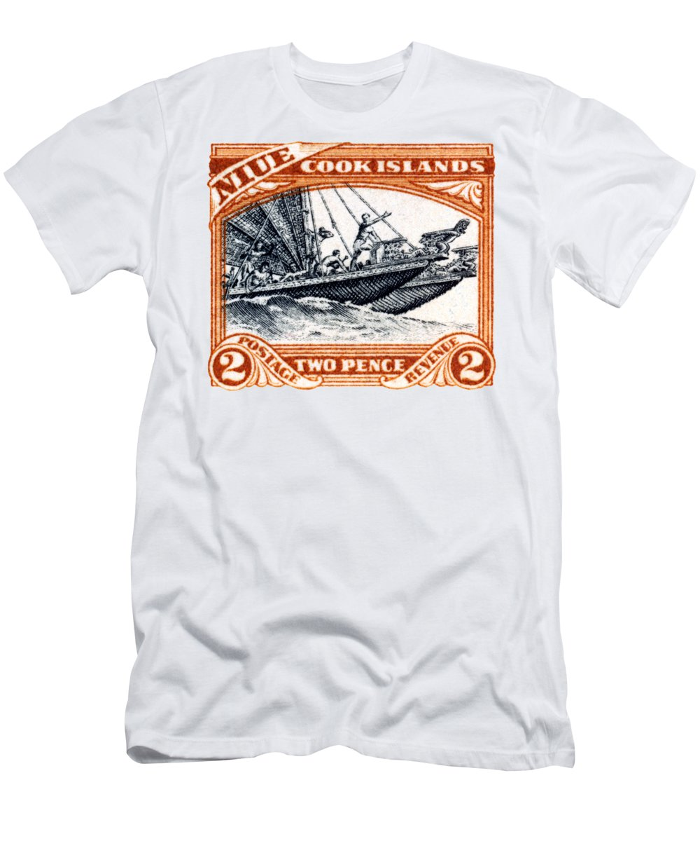 Niue Island Men's T-Shirt (Athletic Fit) featuring the painting 1932 Niue Island Stamp by Historic Image