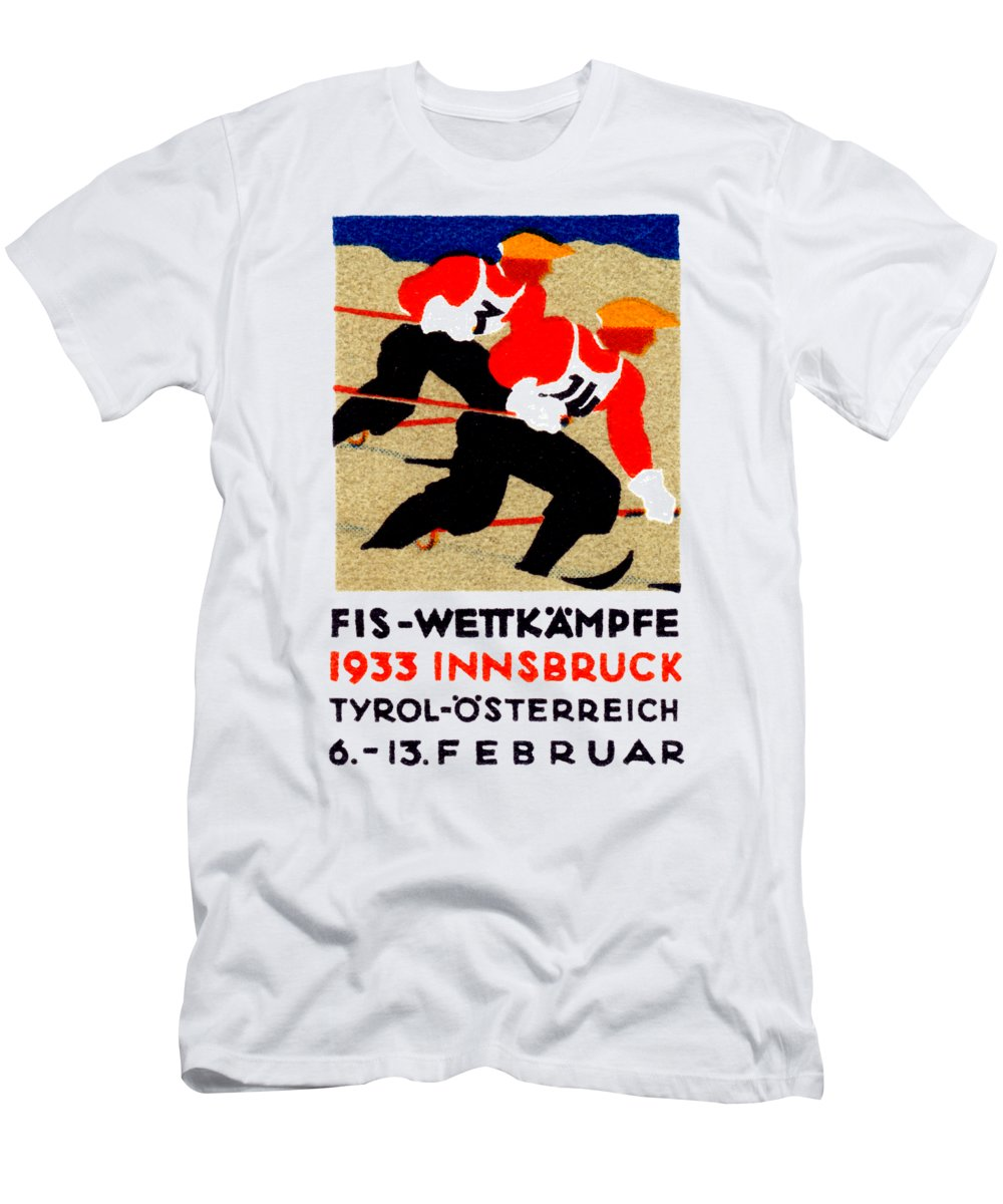 Historicimage Men's T-Shirt (Athletic Fit) featuring the painting 1933 Austrian Ski Race Poster by Historic Image