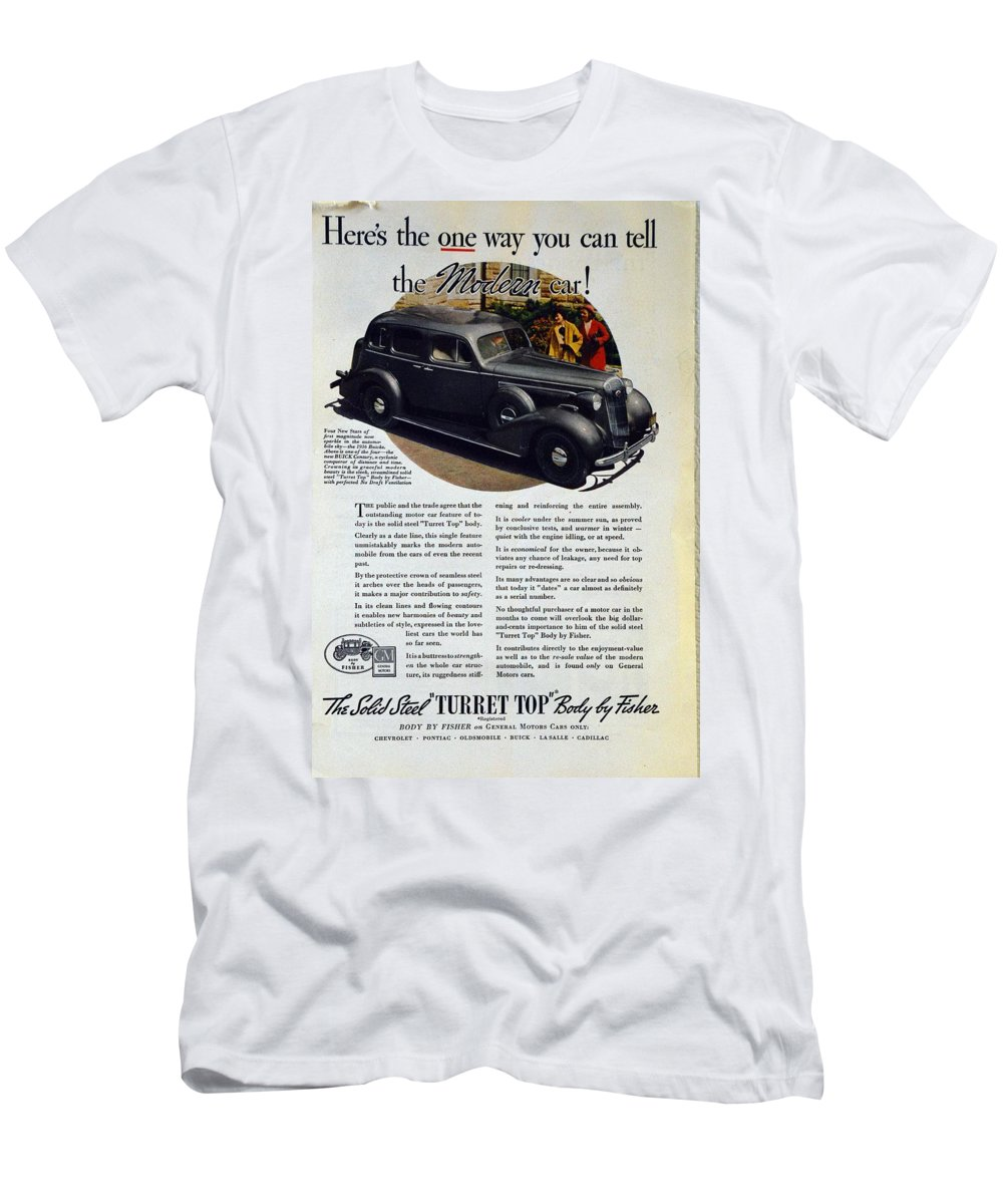 1936 Buick Century Men's T-Shirt (Athletic Fit) featuring the photograph 1936 Buick Century Classic Ad by Allen Beilschmidt