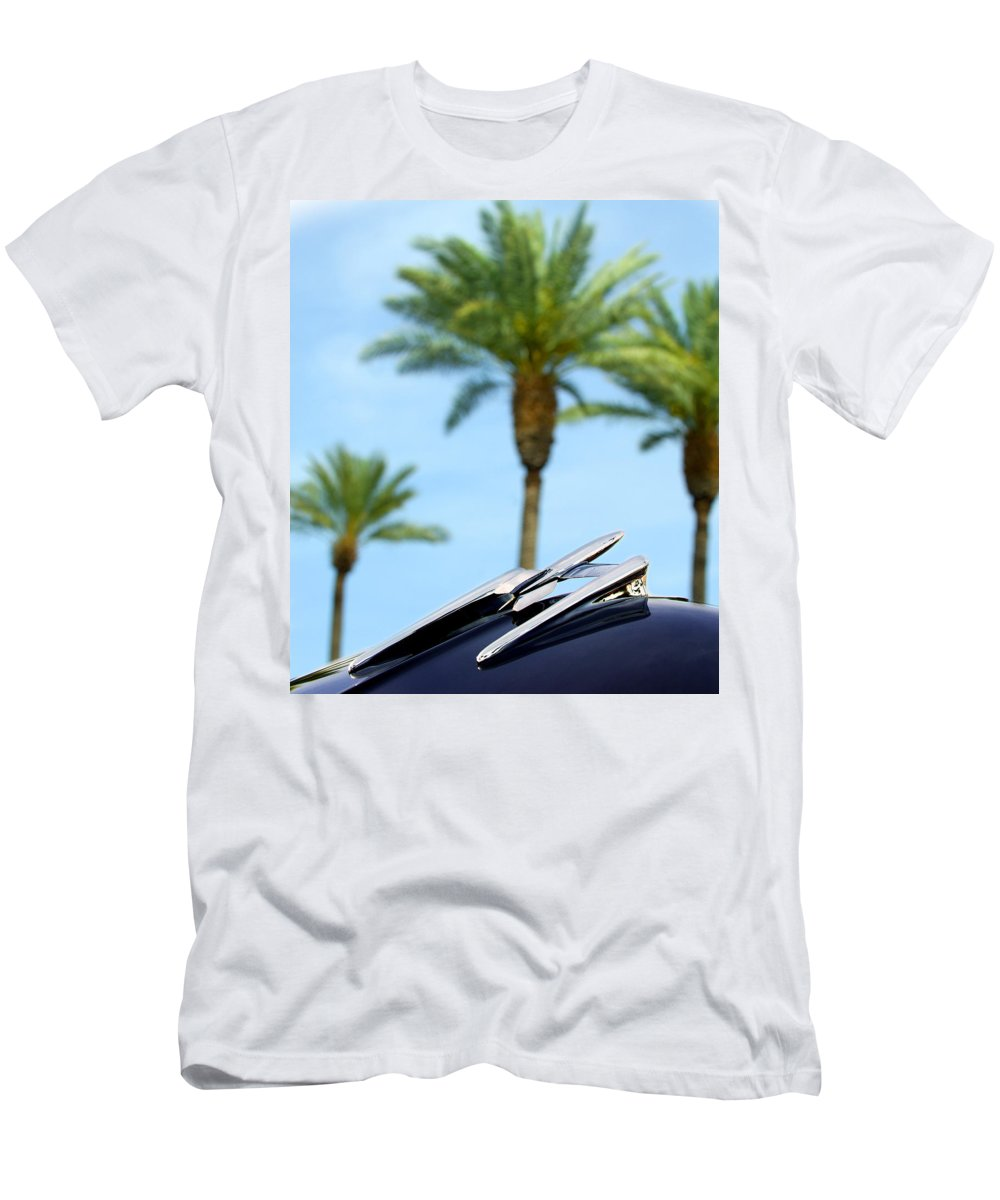 Car Men's T-Shirt (Athletic Fit) featuring the photograph 1950 Oldsmobile Rocket 88 Convertible Hood Ornament And Palms by Jill Reger