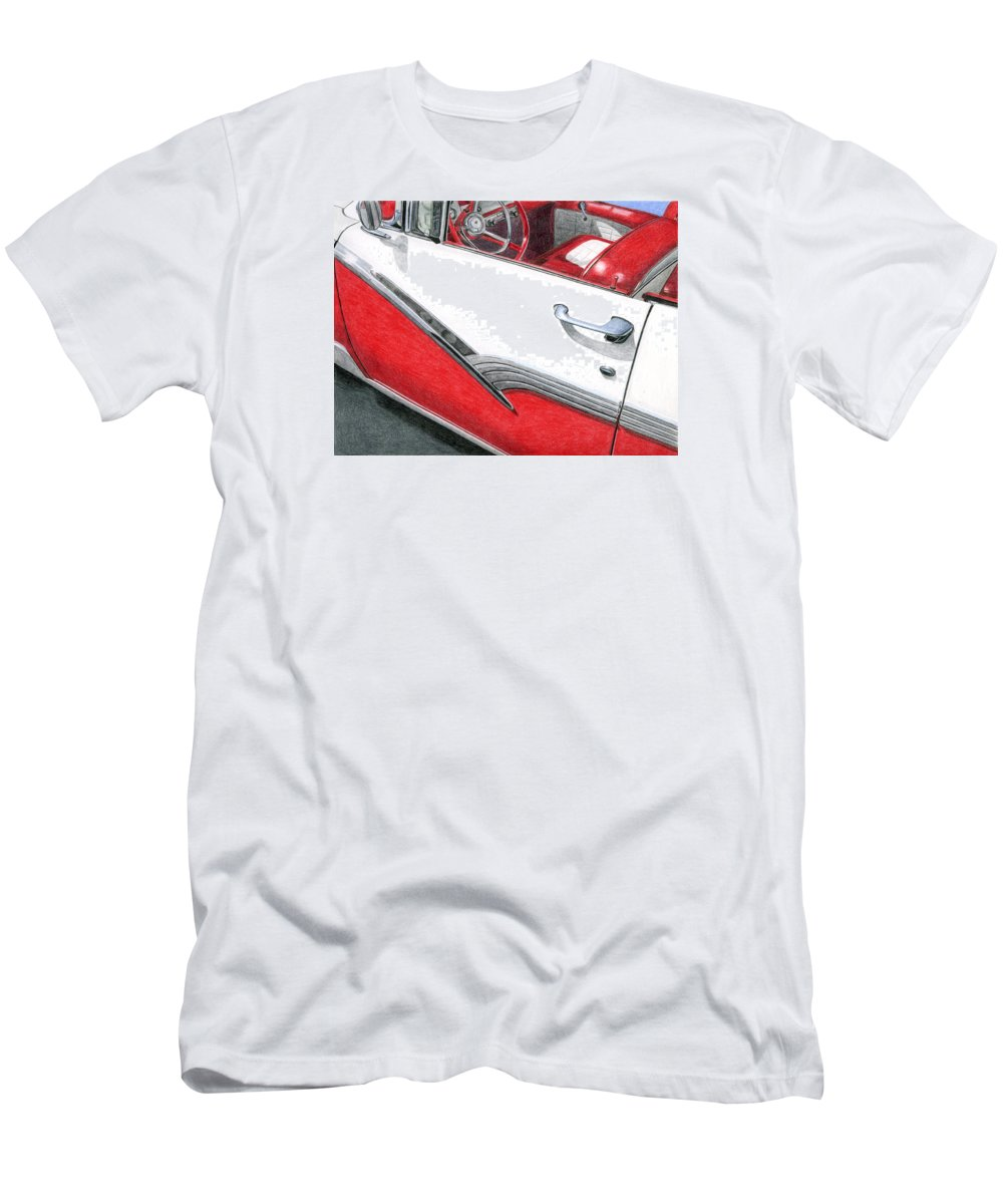 Americana Men's T-Shirt (Athletic Fit) featuring the drawing 1956 Ford Fairlane Convertible 2 by Rob De Vries