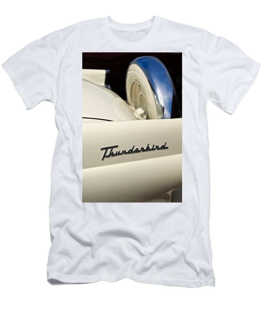 Car Men's T-Shirt (Athletic Fit) featuring the photograph 1956 Ford Thunderbird Spare Tire by Jill Reger
