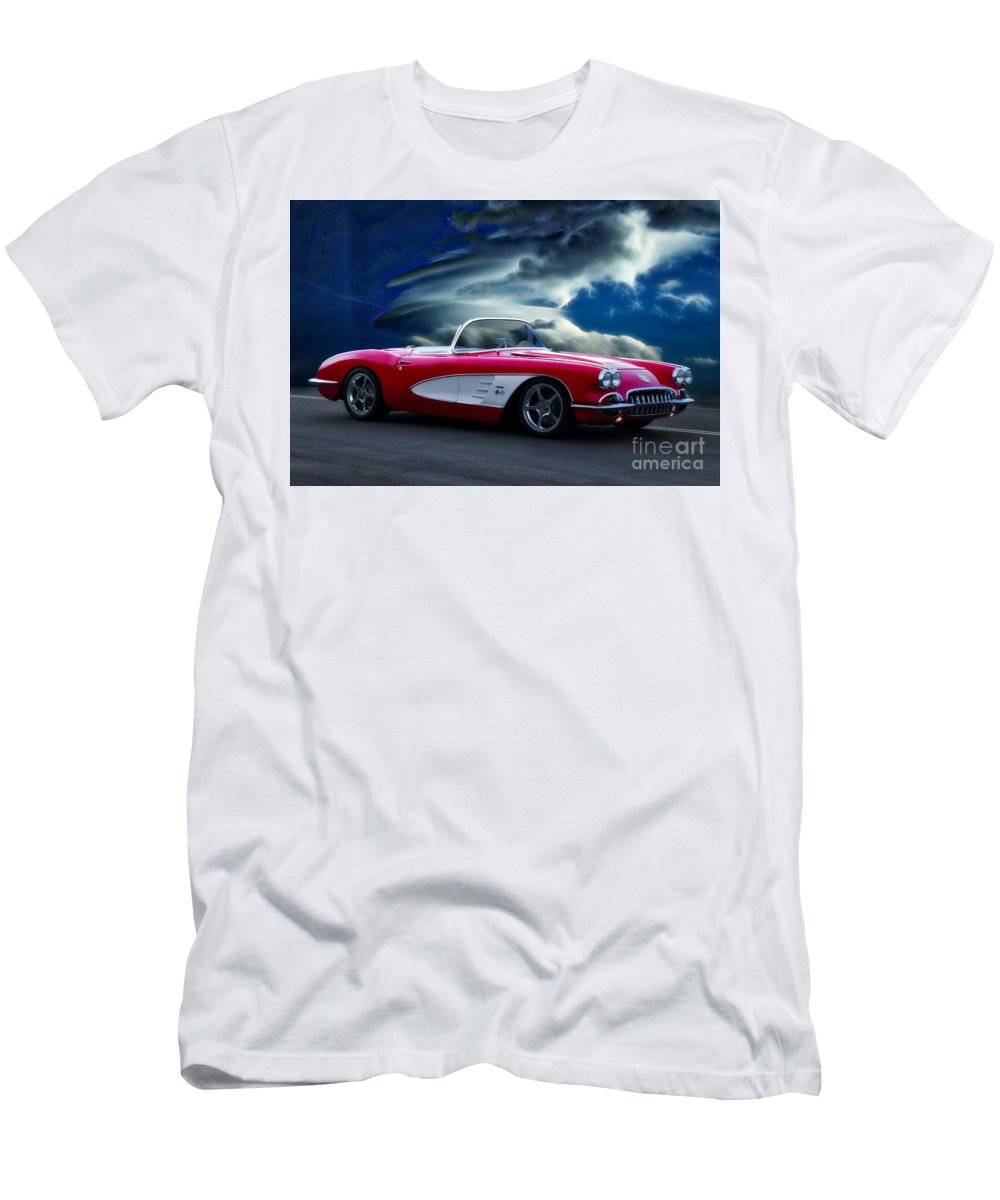 Auto Men's T-Shirt (Athletic Fit) featuring the photograph 1959 Chevrolet Corvette Convertible II by Dave Koontz