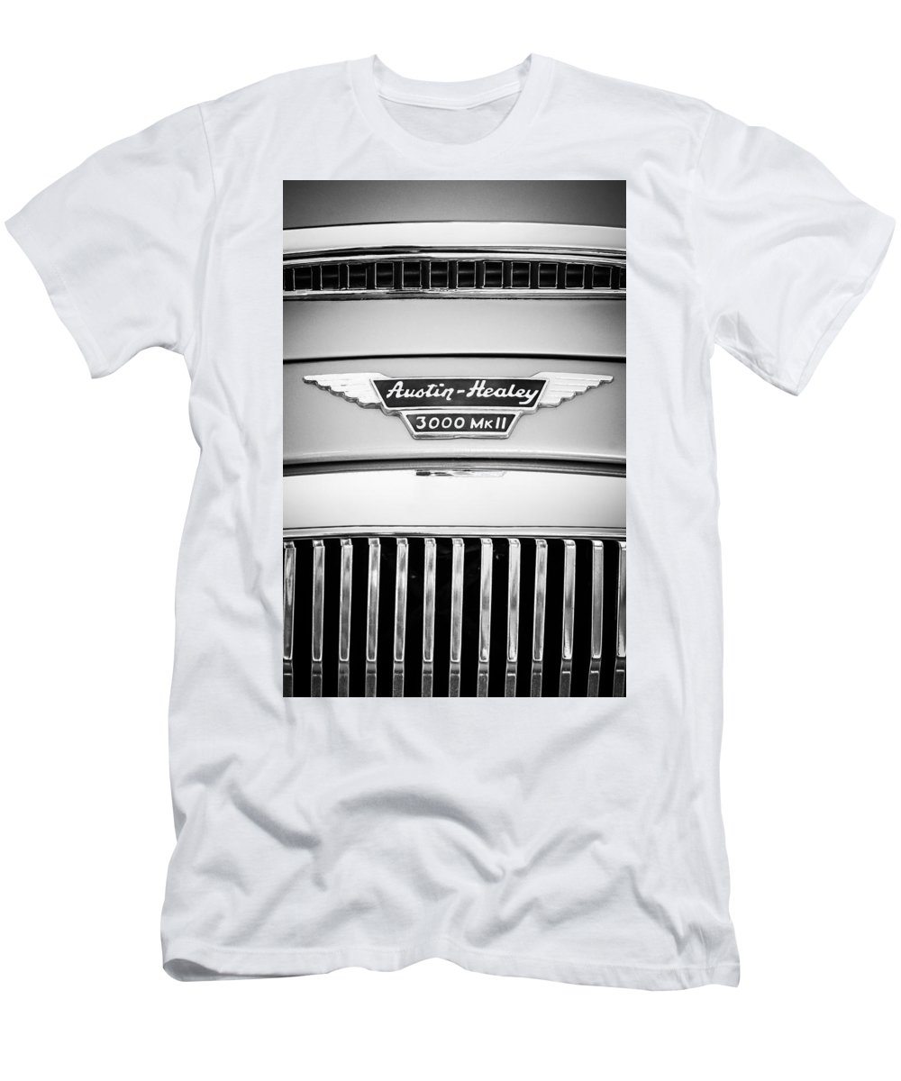 1963 Austin-healey 3000 Mk Ii Grille Emblem Men's T-Shirt (Athletic Fit) featuring the photograph 1963 Austin-healey 3000 Mk II Black And White by Jill Reger