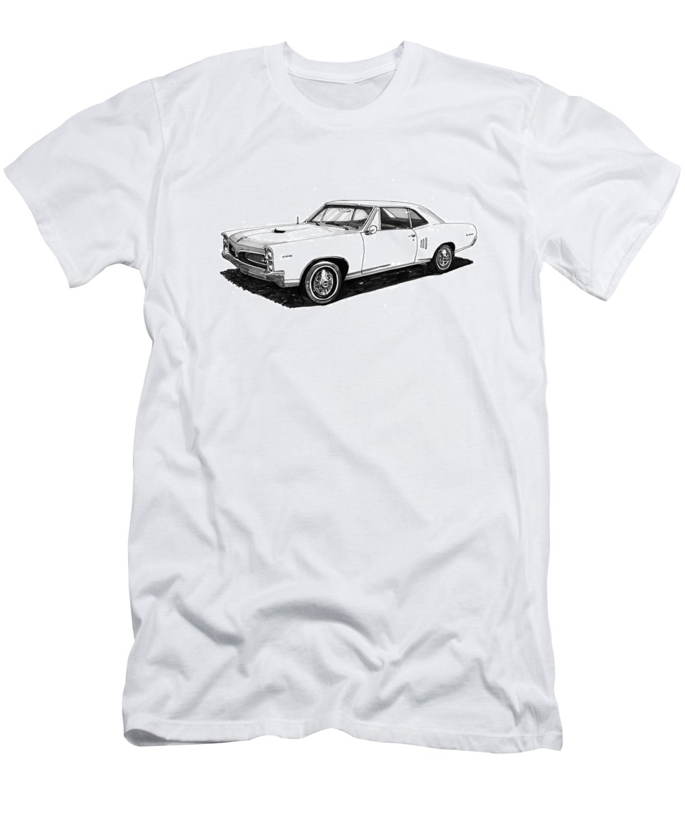 1967 Men's T-Shirt (Athletic Fit) featuring the painting 1967 Pontiac Gto by Jack Pumphrey