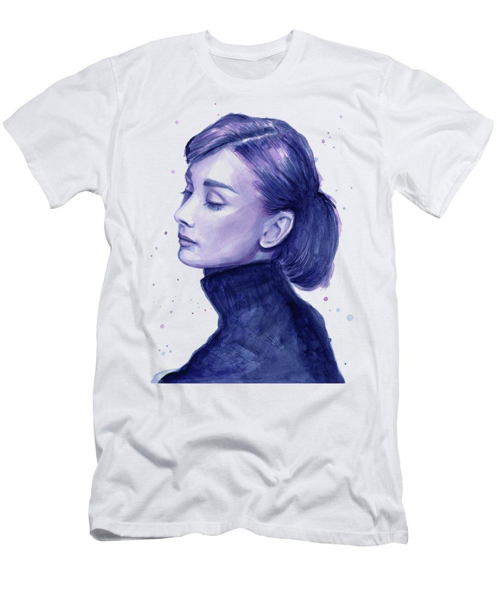 Watercolor Men's T-Shirt (Athletic Fit) featuring the painting Audrey Hepburn Portrait by Olga Shvartsur