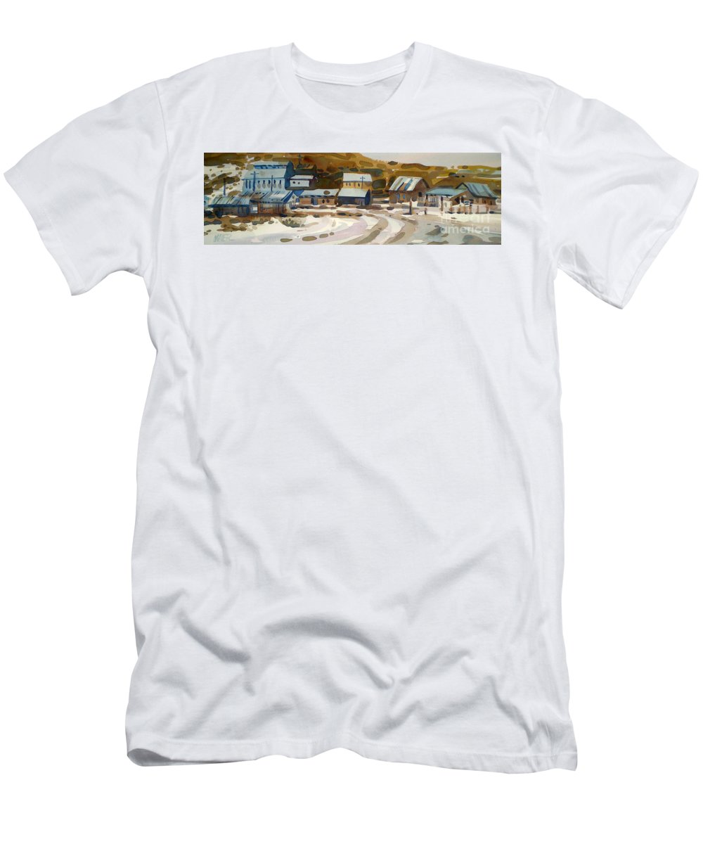 Ghost Town Men's T-Shirt (Athletic Fit) featuring the painting Bodie California 1979 by Donald Maier