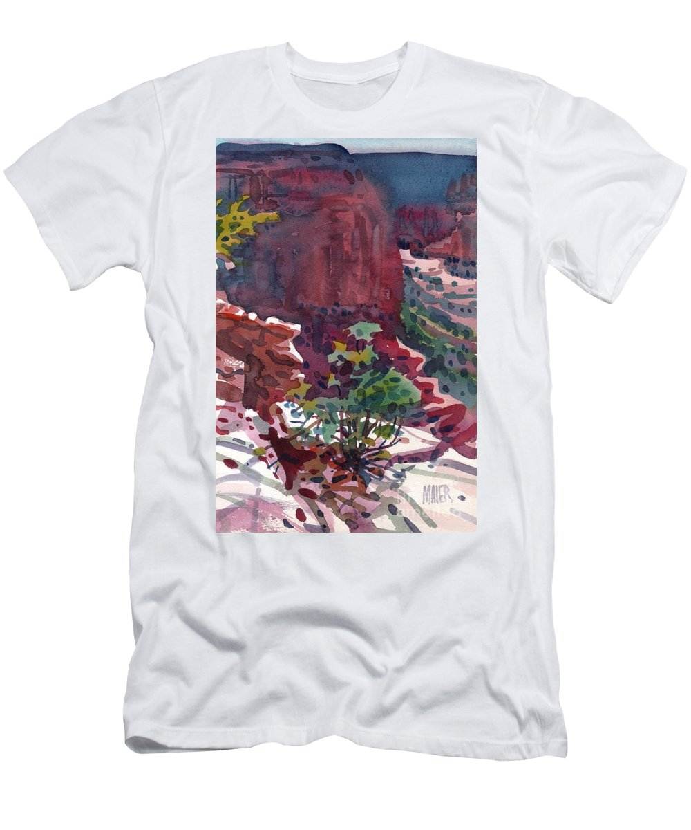 Canyon De Chelly Men's T-Shirt (Athletic Fit) featuring the painting Canyon View by Donald Maier