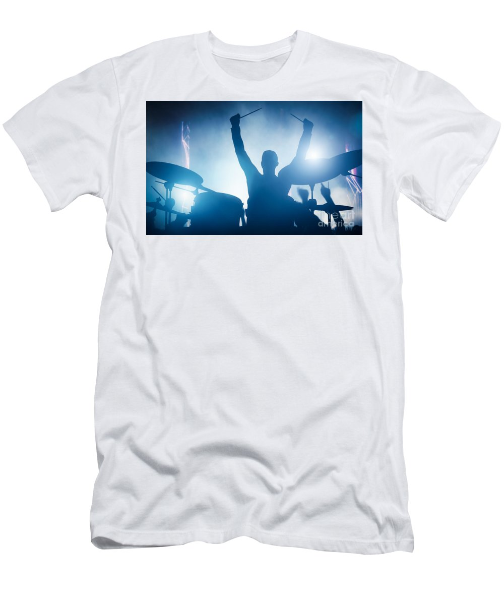 Drums T-Shirt featuring the photograph Drummer playing on drums on music concert. Club lights by Michal Bednarek