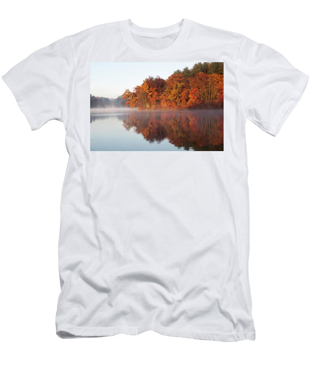 Fall Men's T-Shirt (Athletic Fit) featuring the photograph Fall Sunrise At Cox Hollow Lake In Governor Dodge State Park by Matthew Kirsch