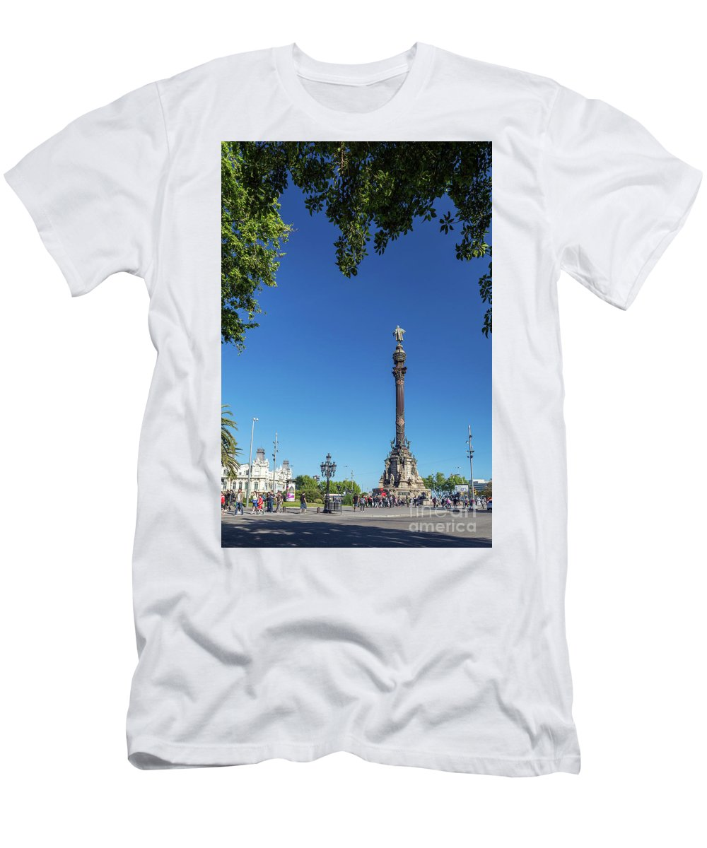 Catalonia Men's T-Shirt (Athletic Fit) featuring the photograph Famous Columbus Monument Landmark In Central Barcelona Spain by Jacek Malipan