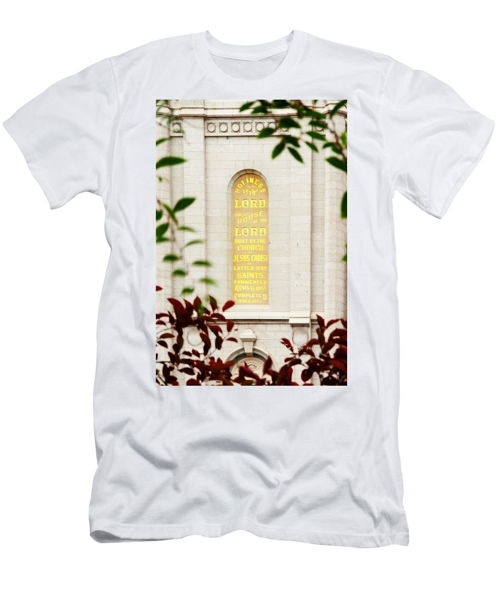 Slc Temple Men's T-Shirt (Athletic Fit) featuring the photograph Holiness To The Lord by La Rae Roberts