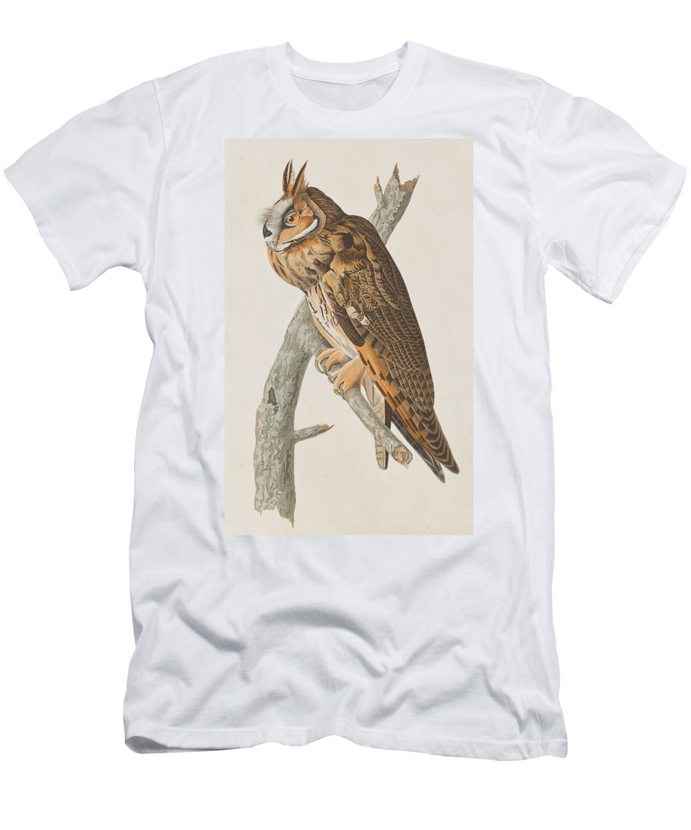 Long-eared Owl Men's T-Shirt (Athletic Fit) featuring the painting Long-eared Owl by John James Audubon