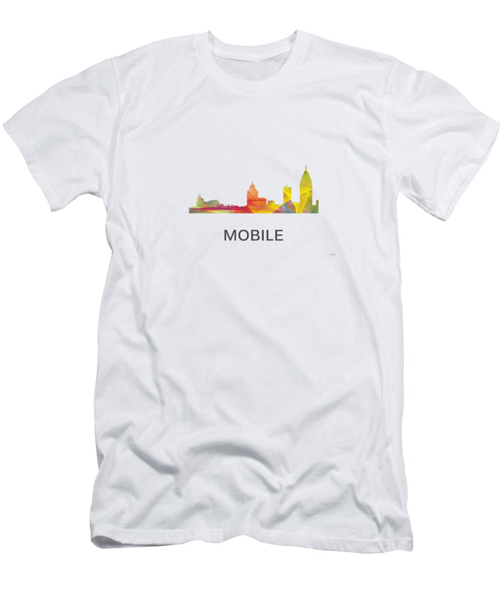 Mobile Alabama Skyline T-Shirt featuring the digital art Mobile Alabama Skyline by Marlene Watson
