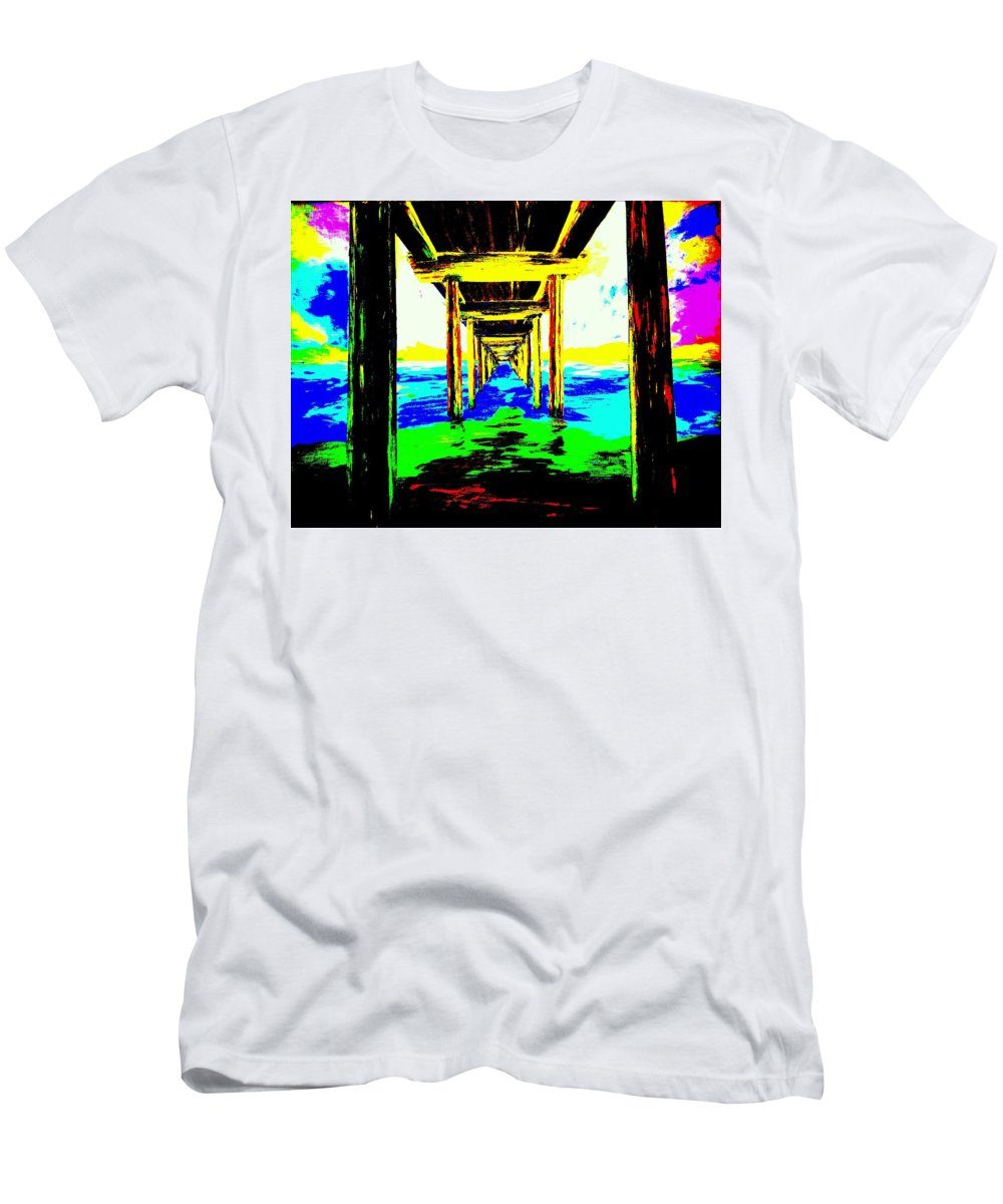 Most Popular Men's T-Shirt (Athletic Fit) featuring the painting Old Wooden Pier by Irving Starr