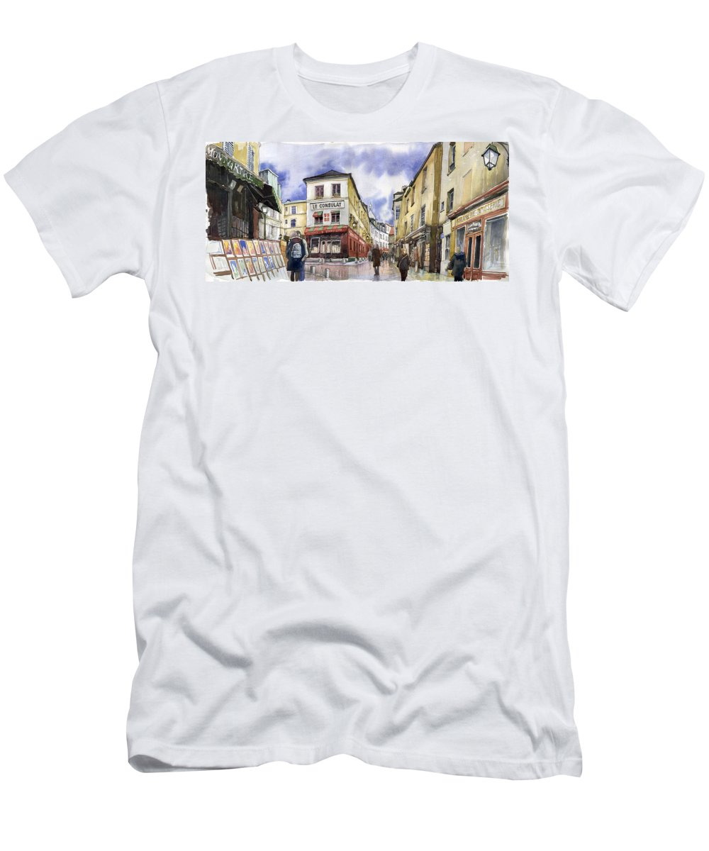 Watercolour Men's T-Shirt (Athletic Fit) featuring the painting Paris Montmartre by Yuriy Shevchuk