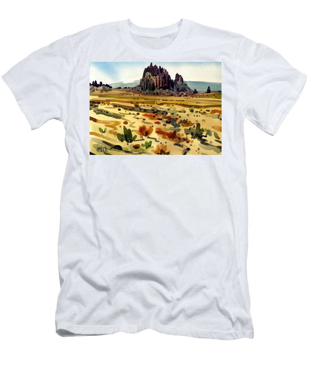 Shiprock Men's T-Shirt (Athletic Fit) featuring the painting Shiprock by Donald Maier
