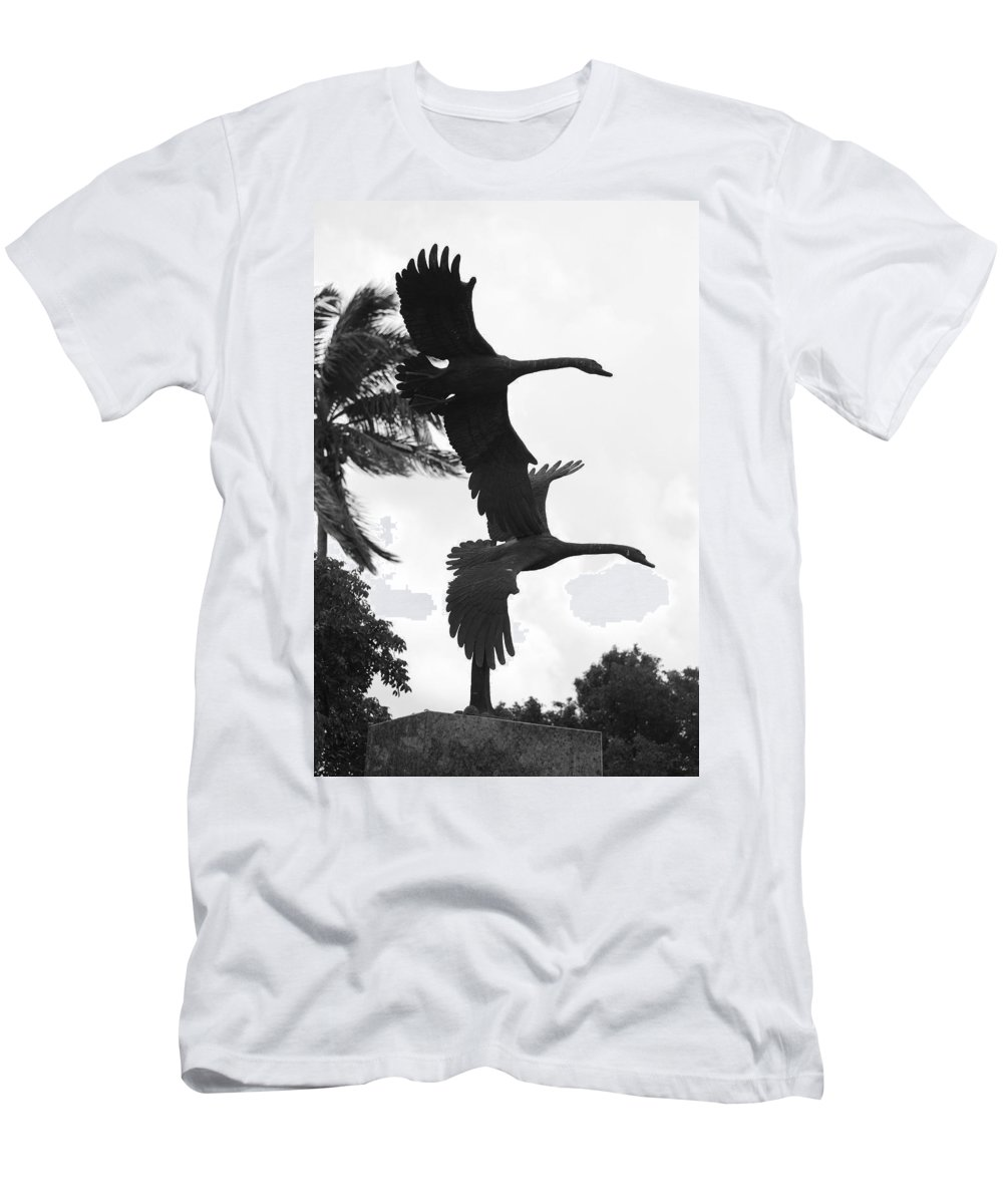 Black And White Men's T-Shirt (Athletic Fit) featuring the photograph Stone Birds by Rob Hans