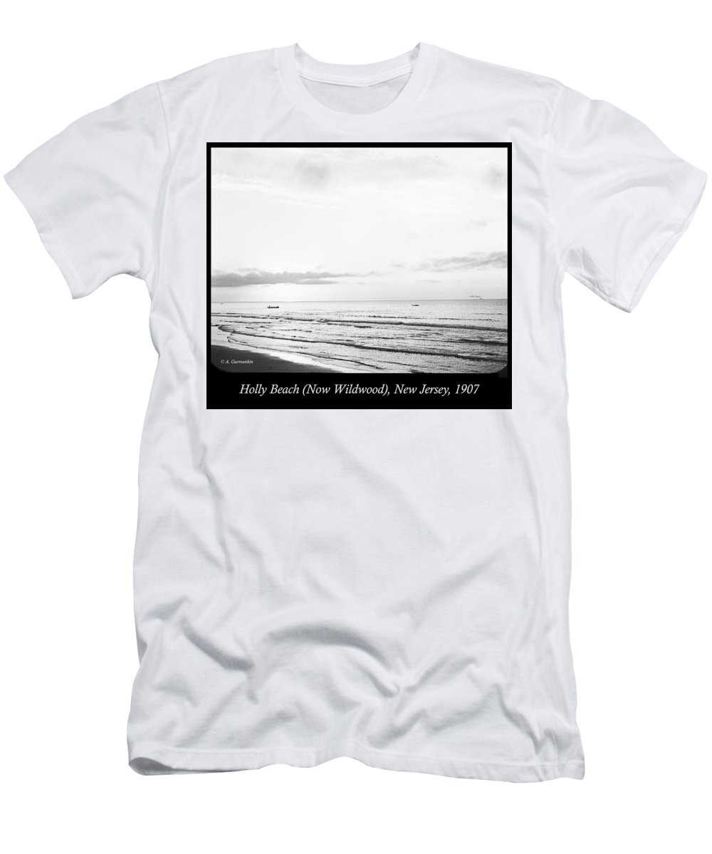 Sunrise Men's T-Shirt (Athletic Fit) featuring the photograph Sunrise, Holly Beach, Now Wildwood, New Jersey, 1907 by A Gurmankin