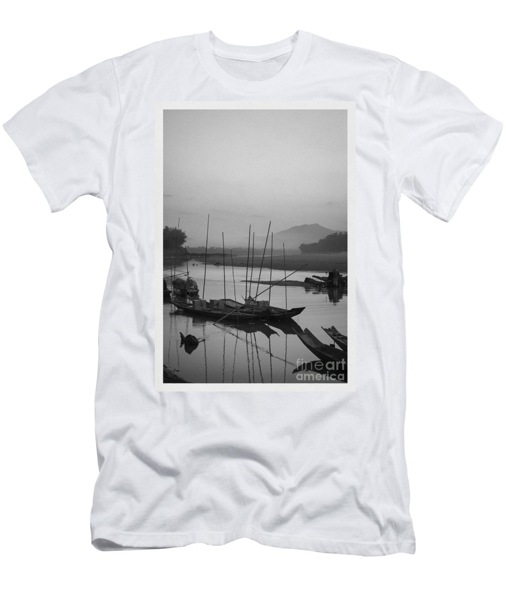 B&w Men's T-Shirt (Athletic Fit) featuring the photograph sunset at Mae Khong river 2 by Setsiri Silapasuwanchai