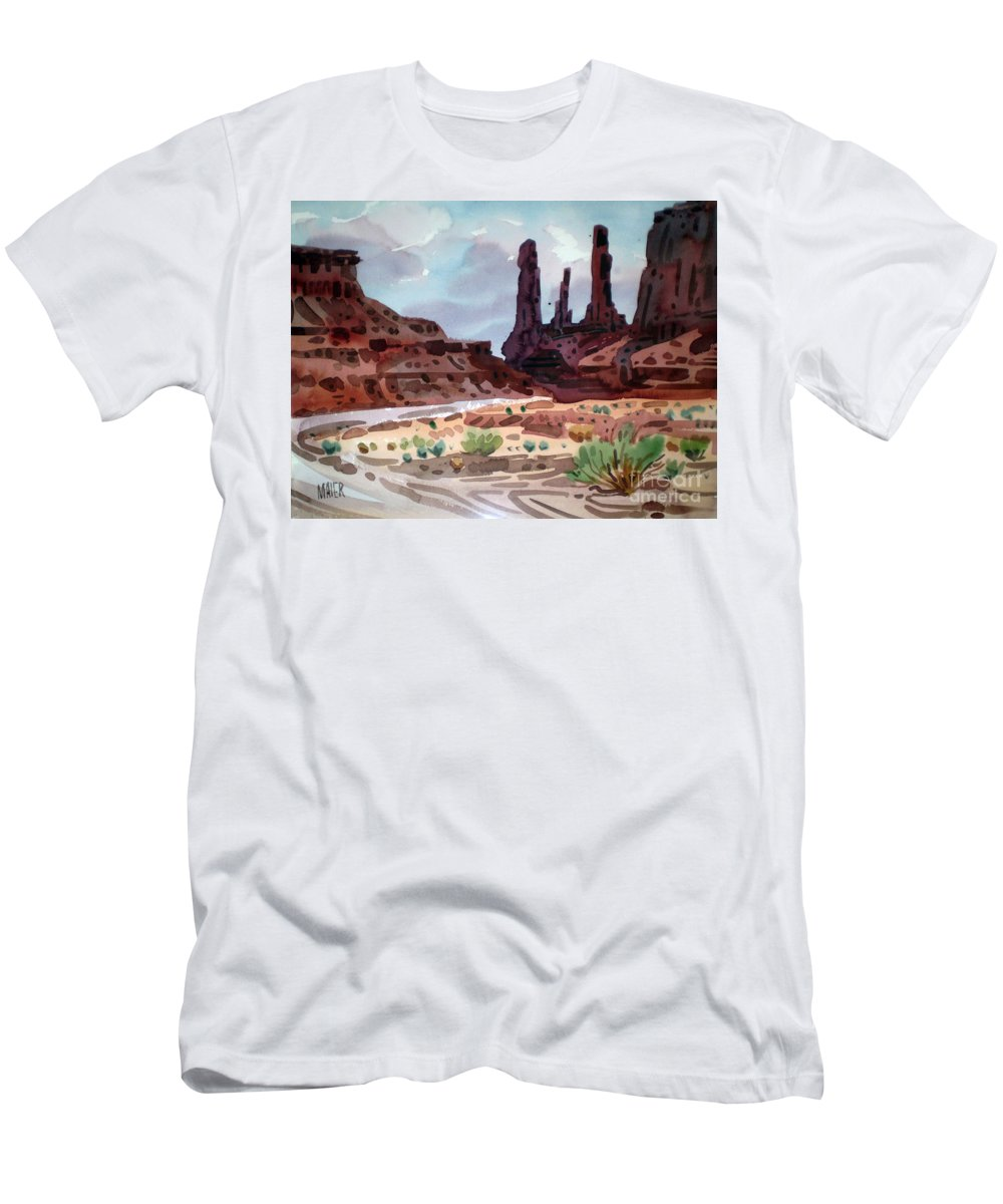 Monument Valley Men's T-Shirt (Athletic Fit) featuring the painting Three Sisters by Donald Maier